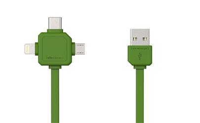 Data kabel PowerCube USBcable USB-C CABLE, Green, multi-vidlice (MicroUSB, Apple Lithning, USB-C), kabel 1,5 m