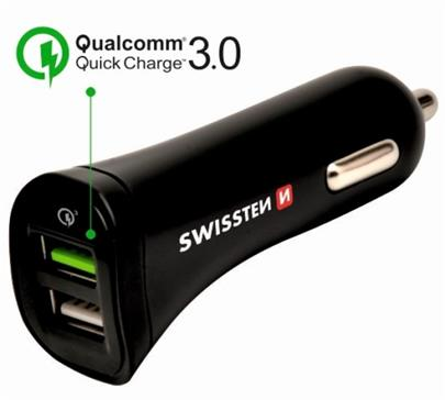 Adapter CL SWISSTEN 2x USB, QUALCOMM QUICK CHARGE 3.0, 2,4A, kabel microUSB, černá (BLISTR)